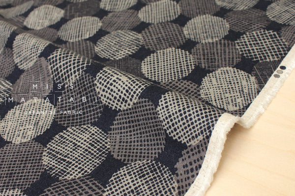 Japanese Fabric Kokka Screen Dots - navy blue, taupe grey - 50cm