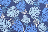 Japanese Fabric Monstera Leaves - blue - 50cm