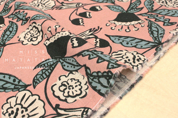 Japanese Fabric Pea Flower - pink, sage - 50cm