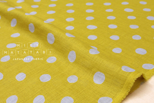 Japanese Fabric 100% linen dots - mustard, grey -  50cm