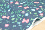 Japanese Fabric 100% linen Butterfly Meadow - blue, pink, green - 50cm