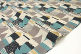 Metallic Shapes - gold, grey, blue - fat quarter