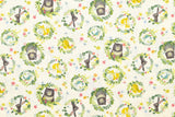 Japanese Fabric Kokka Kawaii Portraits - green, natural - 50cm
