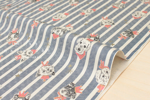 Japanese Fabric Kokka Royal Pups - navy blue, metallic gold - 50cm