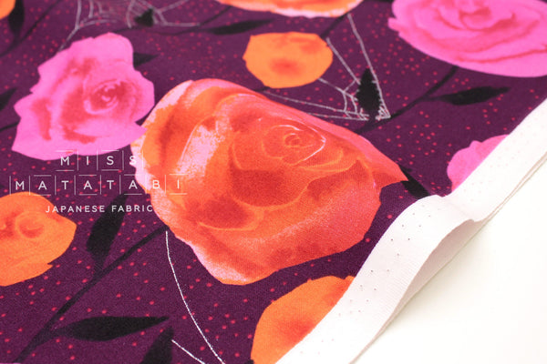Cotton + Steel Eclipse - roses - wine, metallic silver - fat quarter
