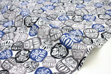 Japanese Fabric Daruma dobby - blue, black, grey - 50cm