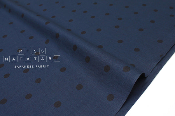 Japanese Fabric Polka Dots- cotton lawn - navy blue, black - 50cm