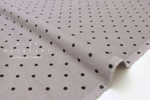 Japanese Fabric Corduroy polka dots - grey, black - 50cm
