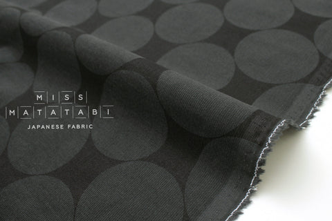 Japanese Fabric Corduroy Big Polka Dots - charcoal grey - 50cm