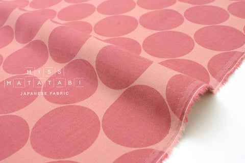 Japanese Fabric Corduroy Big Polka Dots - pink - 50cm