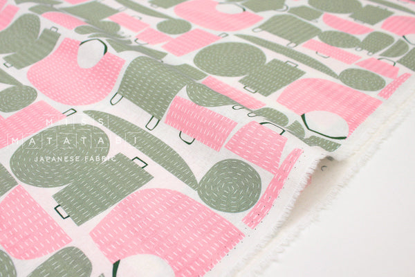 Japanese Fabric Kokka Tayutou Basket - pink, sage - fat quarter