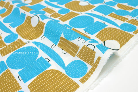Japanese Fabric Kokka Tayutou Basket - blue, coffee - fat quarter