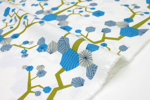 Japanese Fabric Kokka Tayutou Tree - blue, grey - fat quarter