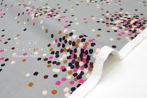 Japanese Fabric Kokka Tayutou Kompeito - grey, pink, purple - fat quarter