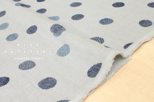 Japanese Fabric linen double gauze - little screen dots - blue, grey - 50cm