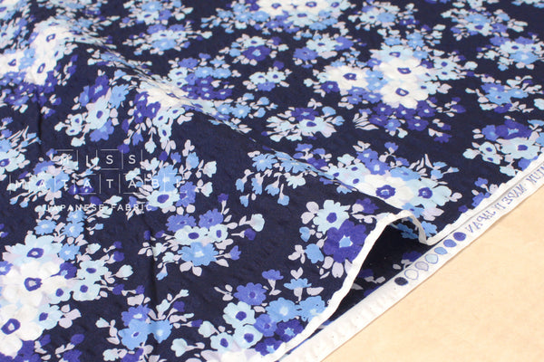 Japanese Fabric Yuwa floral seersucker lawn bouquet - navy blue - 50cm