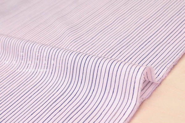 Japanese Fabric Sketch Stripes Lawn - pink, navy blue - 50cm
