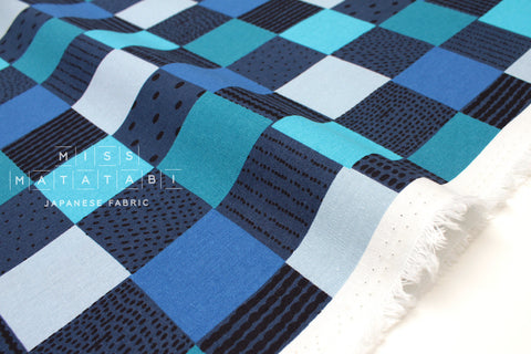 Japanese Fabric Kokka PIKKU SAARI - Ruutu - blue - fat quarter