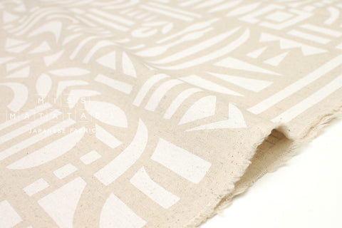 Japanese Fabric Kokka Ellen Baker Stencil - Cut Out - white, natural - fat quarter