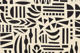 Japanese Fabric Kokka Ellen Baker Stencil - Cut Out - black, natural - 50cm