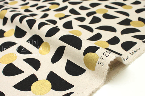 Japanese Fabric Kokka Ellen Baker Stencil - Slices - black, metallic gold - fat quarter