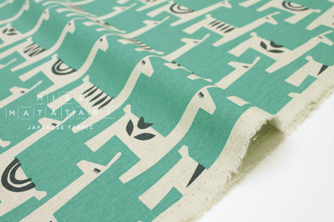 Japanese Fabric Kokka Ellen Baker Stencil - Llamas - green - fat quarter