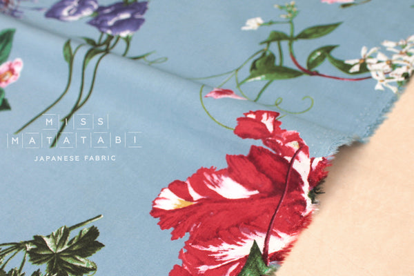 Japanese Fabric Climbing Floral rayon lawn - blue - 50cm