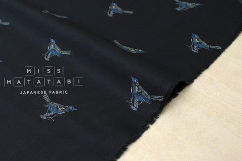 Japanese Fabric Birds - cotton lawn - black, blue - 50cm