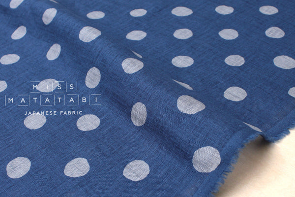 Japanese Fabric 100% linen dots - blue, grey -  50cm