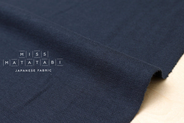 Japanese Fabric Linen Blend Wave Knit - navy - 50cm