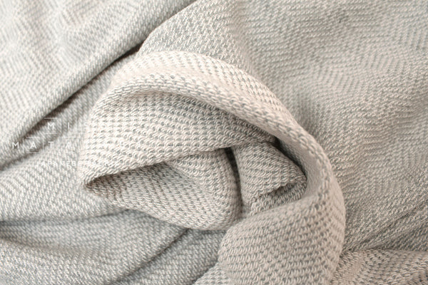 Japanese Fabric Herringbone French Terry Knit - grey, cream - 50cm