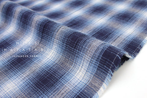 Japanese Fabric Textured Plaid - blue - 50cm