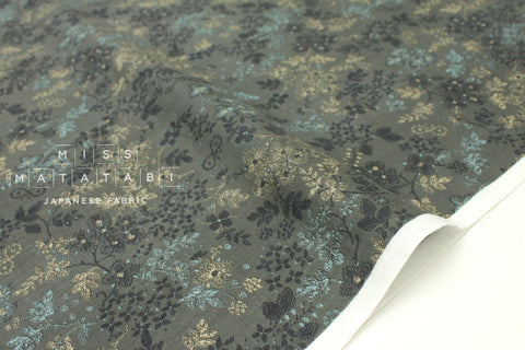 Japanese Fabric Kokka Mori no Kakera - floral vines - grey green - 50cm