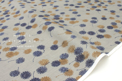 Japanese Fabric Kokka Mori no Kakera - dandelion - grey, blue - 50cm