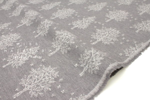 Japanese Fabric Kokka In the Forest Jacquard - grey - 50cm
