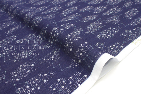 Japanese Fabric Kokka Starry Constellations - navy blue, metallic silver  - 50cm