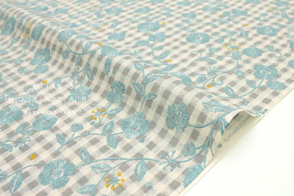 Japanese Fabric Kokka Floral Gingham - grey, blue - 50cm