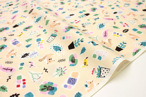 Japanese Fabric Creator's Room Fabrics - Bonjour Friends - butter cream - 50cm