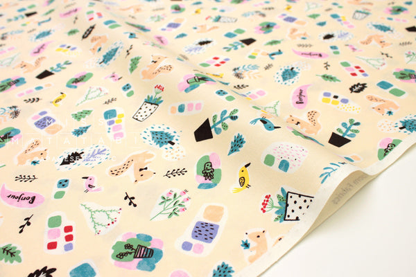 Japanese Fabric Creator's Room Fabrics - Bonjour Friends - butter cream -  fat quarter