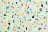 Japanese Fabric Creator's Room Fabrics - Bonjour Friends - mint - 50cm