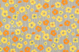 Japanese Fabric Nina Anemone Flowers - grey, mustard, orange - 50cm