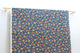 Japanese Fabric Nina Anemone Flowers - navy blue, pink - 50cm
