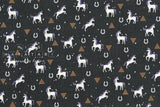 Japanese Fabric Nina Unicorns - black, metallic silver stars - 50cm