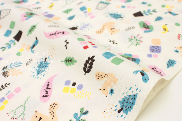 Japanese Fabric Creator's Room Fabrics - Bonjour Friends - cream - 50cm