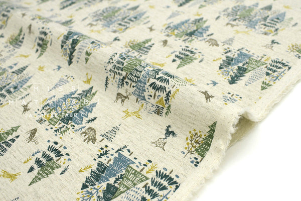 Japanese Fabric Kokka Hokkori Life Fox Forest - green - 50cm