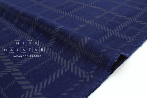 Japanese Fabric Kokka Olu Amu - rayon plaid - navy blue- 50cm