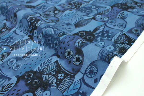 Cotton + Steel Eclipse - wise owls - blue - 50cm