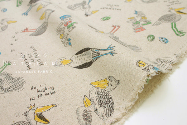Japanese Fabric Kei Fabric Miyako Shoebill Bird - natural - 50cm