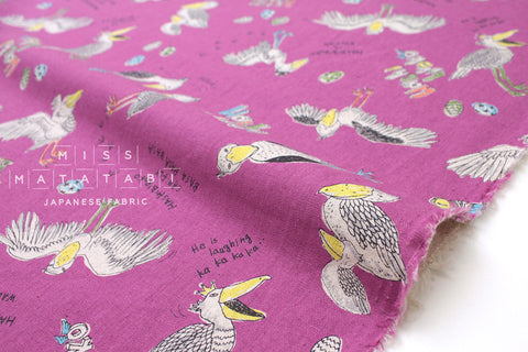 Japanese Fabric Kei Fabric Miyako Shoebill Bird - pink - fat quarter
