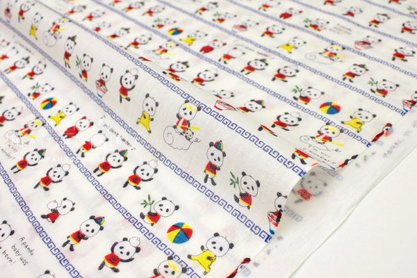 Japanese Fabric Kobayashi Monkey Magic Pandas - white, blue - 50cm